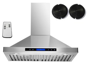 "AKDY 30"" Convertible Wall Mount Stainless Steel Ductless/Ventless Range Hood with Remote"