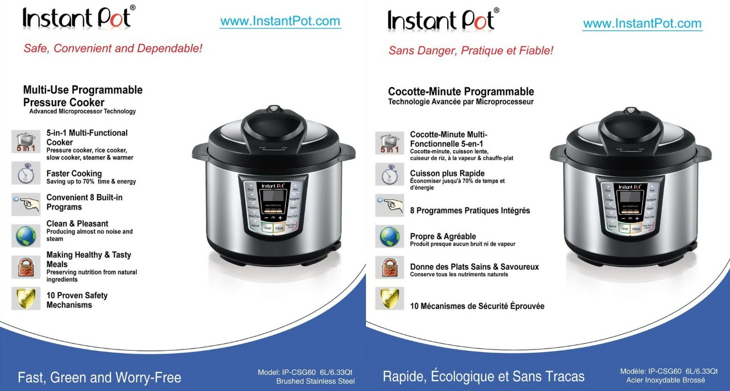 Instant Pot IP CSG Series Specifications